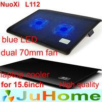 [Hot]dual fan 70mm fan blue LED Light black color laptop cooling pad laptop cooler laptop cooling laptop radiator nuoxi L112