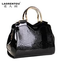 Laorentou famous brands 2013 new genuine leather handbags cowhide female vintage ladies bags women's totes crocodile designers
