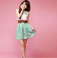 2014 New Korean summer Lace Dress Fashion Style Polka Dot Sweet Lovely sleeveless Orange/Green mini Dress Top Free Shipping 3607