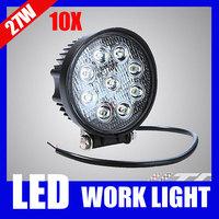 10pcs/lot 27W LED Work Lamp Offroad Worklight Round 12V 24V 4inch Flood Spot Beam Light for Trailer Truck Tractor Jeep SUV ATV