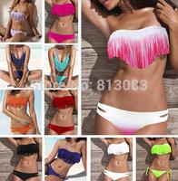 Newest Summer Fashion Sexy Women Bikini Swimwear Padded Boho Fringe Tassels Real Class Swimsuit 21 Colors #P038