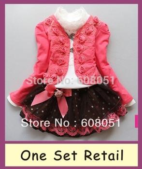 Retail new 2015 girls 3pcs clothing set children dress tracksuits sport sets kids autumn -summer princess lace clothes A62