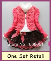 Retail new 2013 girls 3pcs clothing set children dress tracksuits sport sets kids autumn -summer princess lace clothes A62
