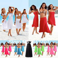 2013 New Free Shipping Wholesale Bikini Magic Strapless Beach Dress Swimsuit Swimwear Women's Dresses 11 Colors