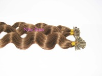 100% Remy Human  Virgin Hair Extenions Pre Glued Body Wave 20'' Colored M4/27,100g,1g/Strand,Tinct Hair Top Nice AAAAAAAAA Grade