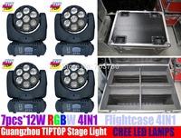 High Quality 4pcs/lot 7pcs*12W RGBW 4IN1 Osram Beam LED Moving Head Light DMX 512 15Chs 8Degree Beam Angle Led Effect Light