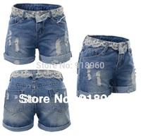 plus size S~9XL waman short waist lace  shorts,oversize sexy ladies' denim short jeans,shortes femininos