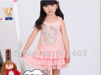 4 pcs/lot  2014 children  girls summer  sleeveless hello kitty chiffon lace tank dress  pink, white / kids  dress / size 100-130