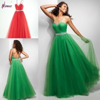Free Shipping Floor Length Tulle Backless Party Gown Homecoming Prom Ball Formal Evening Dress 2013