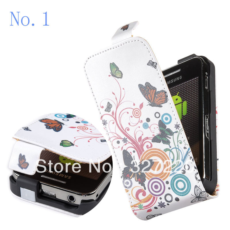 Free Shipping PU Cover Flipcase for Samsung Galaxy Ace S5830i S5830 Case Skin colorful circle butterfly flower(China (Mainland))
