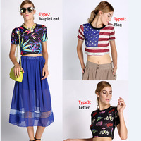 summer Harajuku style white crop tops for Women american flag all-match print short design short-sleeve T-shirt tee blouse