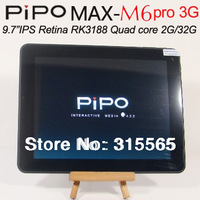 SG post free Pipo M6 pro 3G RK3188 quad core 3G optional 9.7 Inch Retina Screen Android 4.2 2G RAM Bluetooth Dual Camera