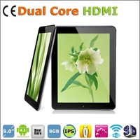9 inch Dual Core A20  google Android 4.2 wifi  HD Capacitive Touch Cortex A8 8GB ROM 1GB RAM 5000mAH Large batteries tablet  pcs
