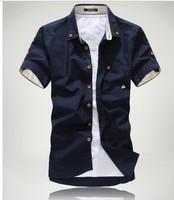 13 men's clothing summer fashionable casual summer slim short-sleeve shirt short-sleeve shirt male clothes