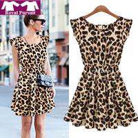2015 Women Casual Leopard Print Dress Microfiber Summer Sexy Dresses Free Shipping 12054