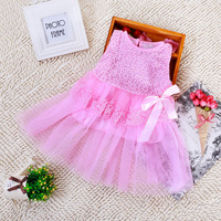 Retail! New 2013 baby girls dresses children clothing cotton ball gown dress kids bow lace princess clothes 2colors high quality