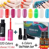 9 pcs soak off gel polish + top coat base coat uv gel nail polish kit  led gel lacquer set free shipping