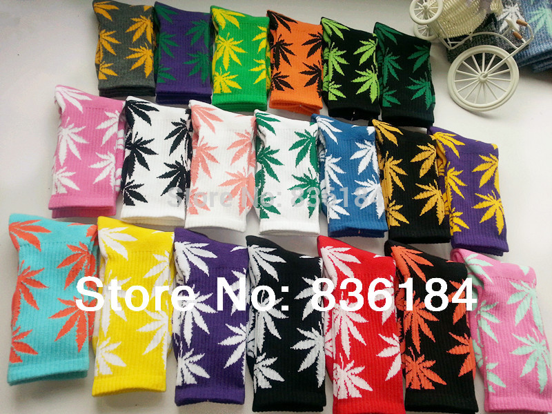 Hot! Long Thick Cannabis Marijuana Style Weed Socks Brand Cotton Athletic Shoes Basketball Sock Meias Stockings for Men Women(China (Mainland))