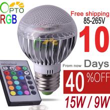 Free shipping E27 RGB LED  BULB 9W AC 110V 220V 85-265V led Bulb Lamp with Remote Control multiple colour spotlight led lighting