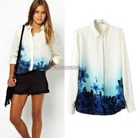 2014 New plus size Women's vintage chiffon Blouse Gradient Blue Flower printed Long Sleeve Shirt S/M/L Drop shipping 18999