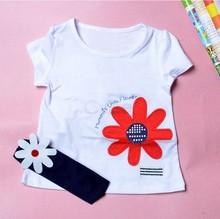 2014 Baby Girls Kids T Shirt Headband Top Pants Shorts Flower 3pcs Outfit Clothes #04 SV000442(China (Mainland))