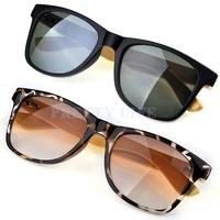Big Discount!!!2014 Handmade Bamboo Legs Eyewear Eyeglasses Rivet Sunglasses Glasses hand made Black/Leopard Print B19 SV000289