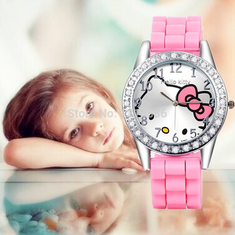 Yeni moda 2014 hello kitty catoon çocuklar saatler kızlar silikon