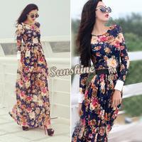 Wonderful New women summer Sexy Slim Long sleeve Maxi Long Chiffon Causal Dress vintage Flower Print Beach Dress B16 SV005217