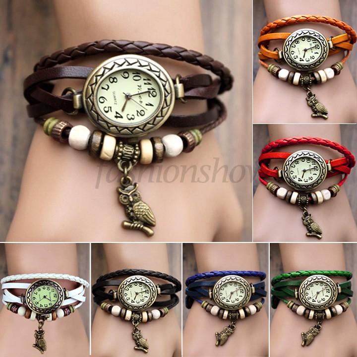 2014 New Fashion Leather Retro Vintage Owl Pendant Weave Wrap Quartz Wrist Watch Bracelet Watch for women lady 7 Colors #7 19429(China (Mainland))