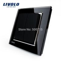 Livolo New Wall Light Switch, Black Crystal Glass Panel, Wall Light 2 Gang 1Way Push Button Switch, VL-W2K2-11