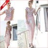 Coniefox Beaded V-Neck Cap Sleeve Pink Elegant Bridesmaid Dress 80638