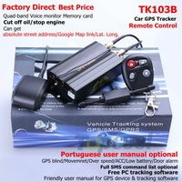 TK103B Car GPS tracker Remote Control  Iphone Tracking 4band Car Alarm GPS Crawler Portuguese PC GPS tracking system Google map