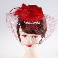 Red  bridal wedding hat,  Birdcage veil headpiece, nice rhinestone decoration feather hair accessories