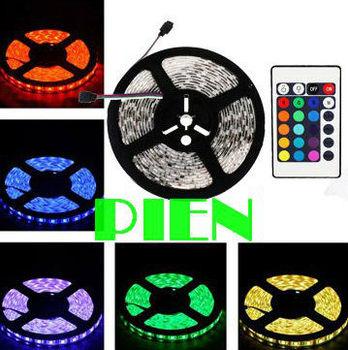 RGB LED Strip 5050 60 LED/M 300LED 5M SMD waterproof flexible tape light Home Outside12V+IR Controller Free Shipping 1 set/lot