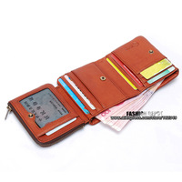 Free Shipping ,designer Trifold Leather wallet, 100% top quality cowhide leather purse, with coin pouch,brown,YKK zipper