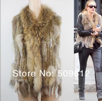 Free shipping high quality Hot Sale Retail/wholesale Raccoon Dog Fur Collar Women Knitted  Rabbit Fur Vest Gilet/waistcoat