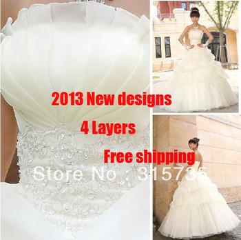 2013 Updated style! 4 Layer Bridal Princess Wedding Dress.Free shipping