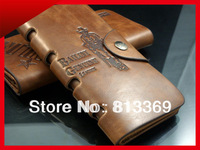 Mens Long Bifold Wallet ID Card Slots Photo Window NoteCase Genuine Leather HAAPCART Clutch Center Flip Cowboy Cool Purse BB101
