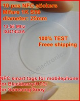 Free shipping(10 pcs) HF13.56Mhz Nfc Smart Stickers Tags for Samsung Sony Nokia HTC Android