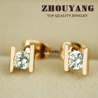 Top Quality ZYE010 Golden H 18K Real Gold Plated CZ Diamond Stud Earrings Jewelry Austrian Crystal Wholesale