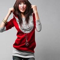 2014 Korea Women's Sweatershirts Fashion Long Sleeve Shirt Cotton Hoodies Coat Outerwear Black Gray free shipping 24