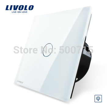 Free Shipping, Livolo EU Standard Dimmer Switch, White Crystal Glass Panel, Wall Light Touch Dimmer Switch, VL-C701D-11