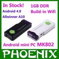 In Stock !!Android 4.0 Mini PC IPTV Google Internet TV Smart  Box DDR3 1GB RAM 4GB ROM Allwinner A10 MK802 mini pc Android 4.0
