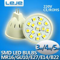 10X Free shipping  led bulb  smd 5050 led spotlight led lamp  e27 e14 gu10 mr16 b22 3w 4w 5w led Light 15 led spot light