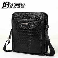 BOSTANTEN crocodile pattern natural Cowskin Genuine leather men messenger bag shoulder bag for ipad