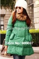 2014 New Winter Duck Down Coat Woman Dress Parkas Real Raccoon Fur Collar Female Down Coats Women's Jacket Plus Size S-4xl 5xl