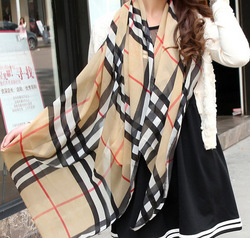 AVAILABLE! Free shipping 2013 classic British plaid scarf Women chiffon silk scarf lady soft neckerchief shawl SC0258(China (Mainland))