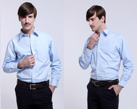 Freeshipping 2013 New Autumn winter blue white man male men's cotton shirt Business casual slim fit shirt top FZ-M002-80S