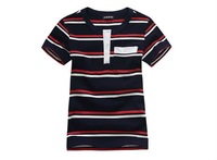 Freeshipping summer Children boy Kids baby  red and white striped casual style short sleeve cotton shirt/ T-shirt  top PEXZ01P51