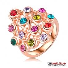 Anéis amizade para Mulheres Clássico Rose Gold Placa colorido Crystal Ring Rhombus austríaco Forma engament Anel Jóias Ri- HQ0022(China (Mainland))